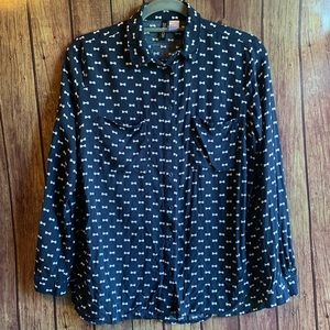 Divided by H&M Blue Bow Print Button Down Blouse